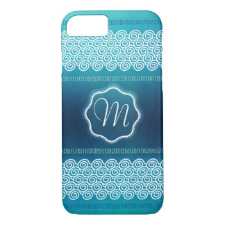 Cool Abstract Textured Waves Patter with Monogram iPhone 7 Case
