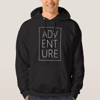 Cool ADVENTURE White Typography Hoodie