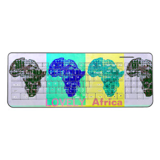 Cool Africa map colorful pattern design Wireless Keyboard