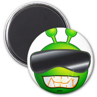 Cool Alien with glasses 2 Inch Round Magnet