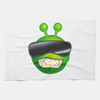 Cool Alien with glasses Kitchen Towels