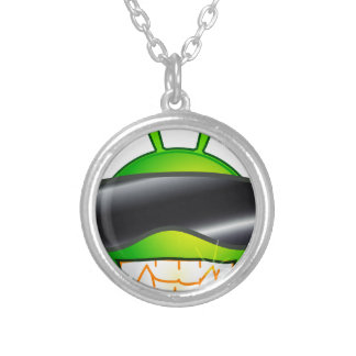 Cool Alien with glasses Silver Plated Necklace