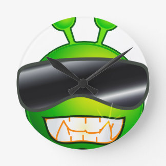 Cool Alien with glasses Wallclocks