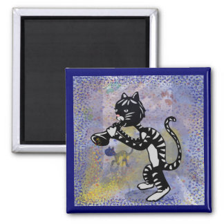 Cool Alley Jazz Cat Square Magnet