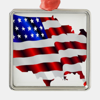 Cool America, US/USA, SAD flag, Sochi games Silver-Colored Square Ornament