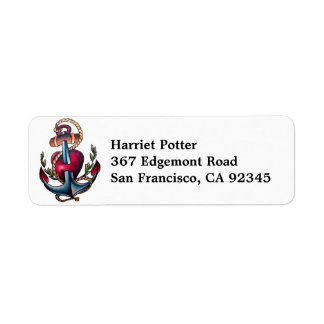 Cool Anchor Tattoo With Pierced Heart Return Address Label