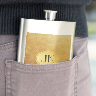 Cool and Edgy Grunge Gold Monogram Hip Flask