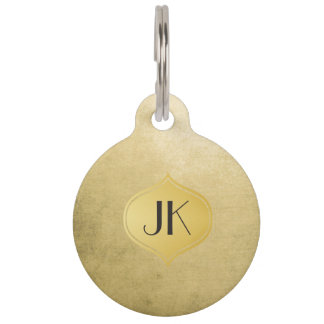 Cool and Edgy Grunge Gold Monogram Pet ID Tag