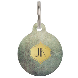 Cool and Edgy Grunge Gold Monogram Pet Name Tag