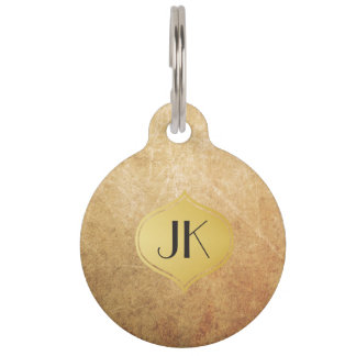Cool and Edgy Grunge Gold Monogram Pet Nametag