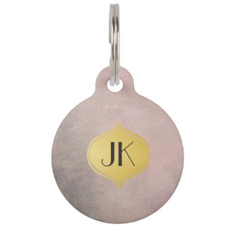 Cool and Edgy Grunge Gold Monogram Pet Tag