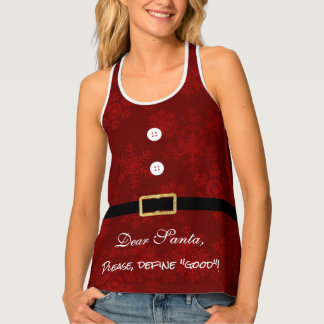 Cool and Elegant Santa Suit Red & Gold Glitter Tank Top