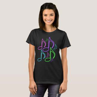 Cool and Fun Bright Neon Music Notes T-Shirt