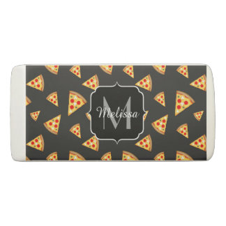 Cool and fun pizza slices pattern Monogram Eraser