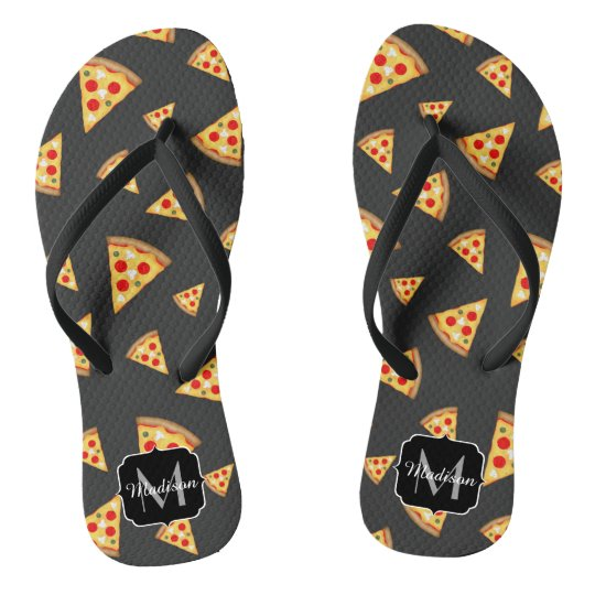 Cool and fun pizza slices pattern Monogram Flip Flops