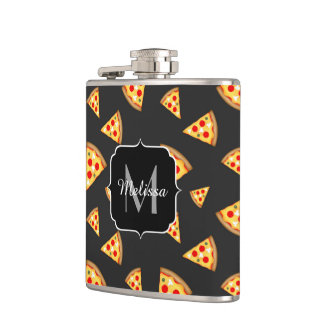Cool and fun pizza slices pattern Monogram Hip Flask