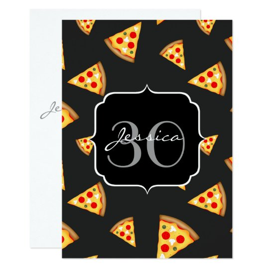 Cool and fun pizza slices pattern Monogram Invite