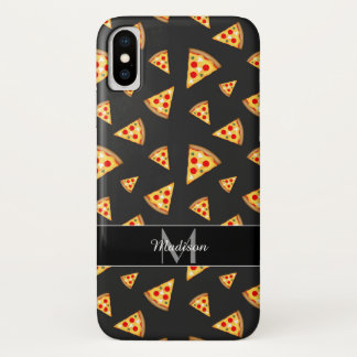 Cool and fun pizza slices pattern Monogram iPhone X Case