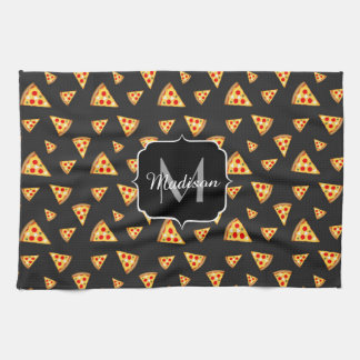 Cool and fun pizza slices pattern Monogram Kitchen Towel