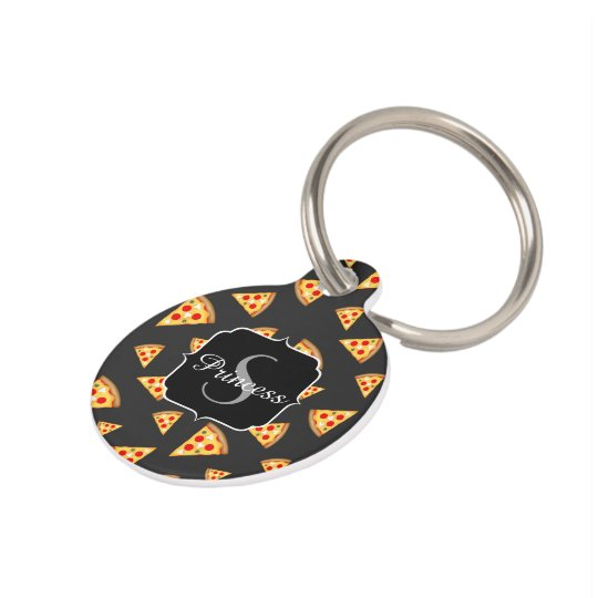 Cool and fun pizza slices pattern Monogram Pet ID Tag