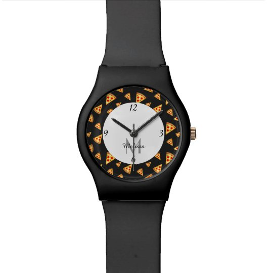 Cool and fun pizza slices pattern Monogram Watch