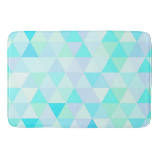 Cool and Fun Turquoise Abstract Triangle Pattern Bath Mat