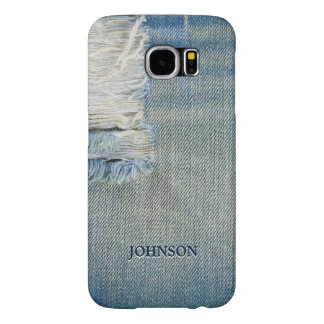 Cool and Funny Blue Jean Threads Custom Monogram Samsung Galaxy S6 Cases