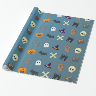 Cool and funny halloween pattern wrapping paper