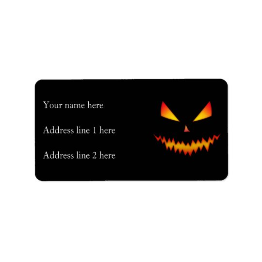 Cool and scary Jack O'Lantern face Halloween Label