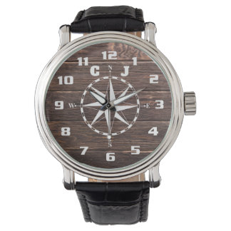 Cool and stylish Rustic Nautical Compass Monogram Watch
