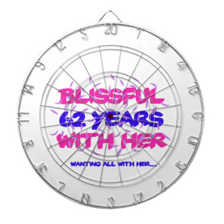 Cool and trending 62nd marriage anniversary design dartboard