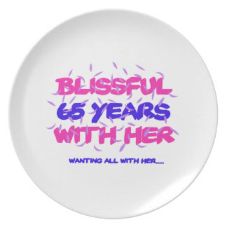 Cool and trending 65th marriage anniversary design plate