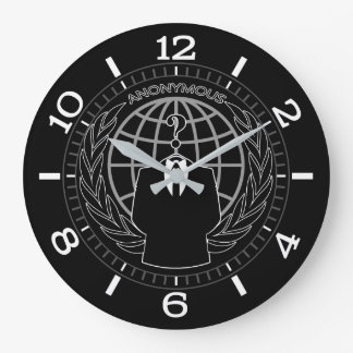 Cool Anonymous Logotype on Black Dial Large Clock