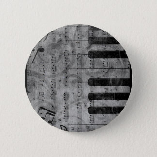 Cool antique grunge effect piano music notes 2 inch round button