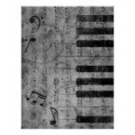 Cool antique grunge effect piano music notes poster