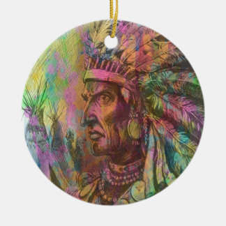 Cool antique native american Indian clipart colour Ceramic Ornament
