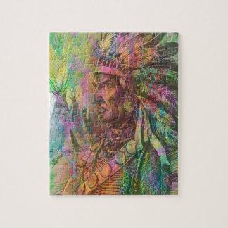 Cool antique native american Indian clipart colour Puzzle