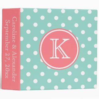 Cool Aqua and Coral Pink Monogram Wedding Vinyl Binder