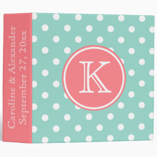 Cool Aqua and Coral Pink Monogram Wedding Vinyl Binders