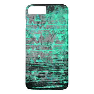 Cool Aqua and Gray Tribal Triangles Grunge iPhone 8 Plus/7 Plus Case