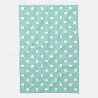 Cool Aqua and White Polka Dot Kitchen Towel