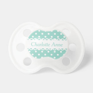 Cool Aqua and White Polka Dot Personalized Pacifier