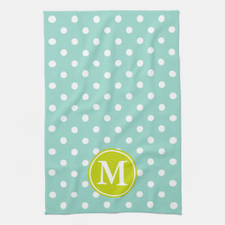 Cool Aqua and White Polka Dot With Lime Monogram Kitchen Towel