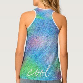 Cool Aqua Blue Abstract Design Tank Top