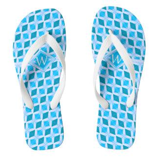 Cool Aqua Ice Diamond Pattern Monogram Flip Flops
