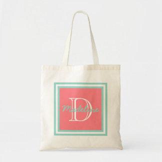 Cool Aqua on Coral Pink Monogram Tote Bag