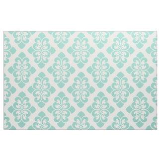 Cool Aqua on White Damask Scroll Fabric