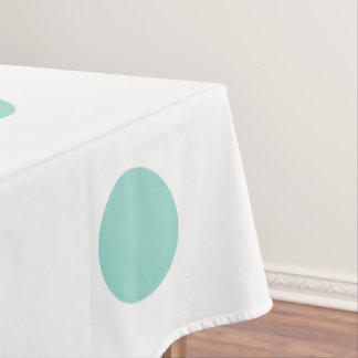 Cool Aqua Polka Dots on White Tablecloth