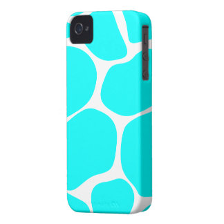 Cool Aqua/White Giraffe Print - iPhone 4/4s Case