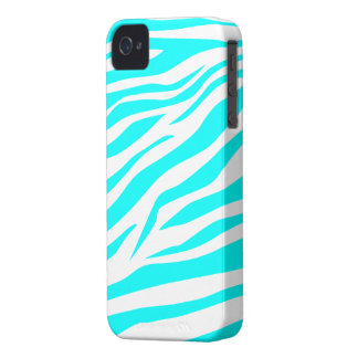Cool Aqua/White Zebra Print - iPhone 4/4s Case
